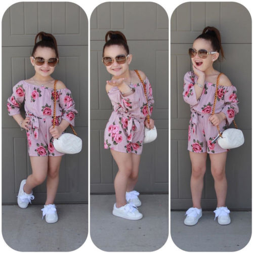 Summer Kids Baby Girls Floral Print Off Shoulder Jumpsuit Sunsuit Outfits Clothes