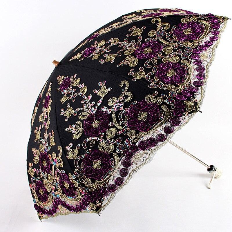 Dentelle pliant femmes pluie parapluie filles Parasol activité mariage imperméable Anti-UV petit mignon dames parapluie Anime Regalo Uomo