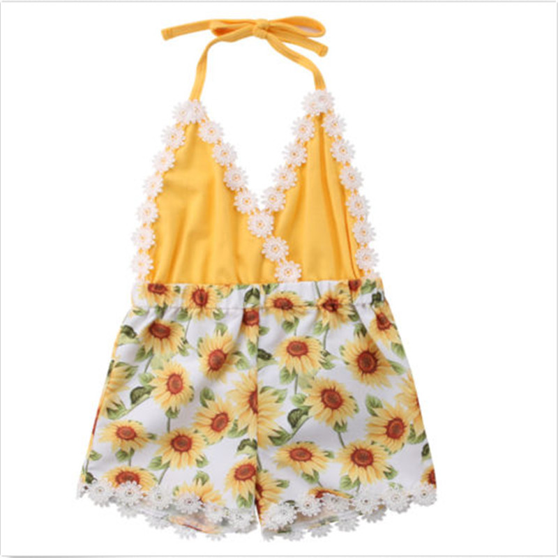 2019 Summer Style Infant Toddler Kid Baby Girls Sunflower Sleeveless   Romper   Suspender Jumpsuit Outfits Summer Cute Playsuit 0-5T