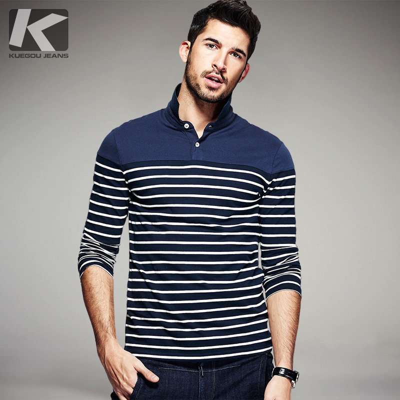 Autumn Mens   Polo   Shirts 100% Cotton Stripe Blue Color Fashion Brand Clothing Man Long Sleeve Clothes Male Wear Slim Tops 7035