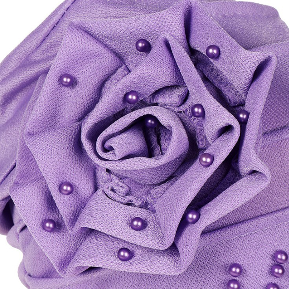 Image 4 - Fashion Women New Style Ruffled Big Flower Scarf Cap Muslim Head  Wrap Cap Chemo Turban Ladies Bandanas Hair AccessoriesWomens Hair  Accessories