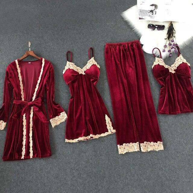 Lisacmvpnel 秋と冬の新ゴールドベルベット 4 個パジャマセクシーなレース暖かいカーディガン + Nightdres + パンツパジャマ女性のためのセット