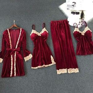 Image 1 - Lisacmvpnel Autumn And Winter New Gold Velvet 4 Pcs Pajamas Sexy Lace keep Warm Cardigan+Nightdres+Pant Pajama Sets For Women