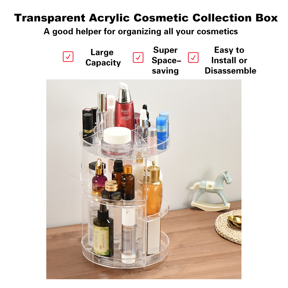 Image 2 - NEW Multi Functional Cosmetic Storage Box Display Holder Acrylic Makeup Case Organizer 360 Degree Rotation DIY Adjustable Height-in Eye Shadow Applicator from Beauty & Health