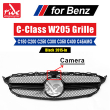 For Benz W205 Front Grille Without Emblem C-Class C180 C200 C250 C300 C350 C400 C63 With Camera ABS Black Sport Front Mesh 2015+