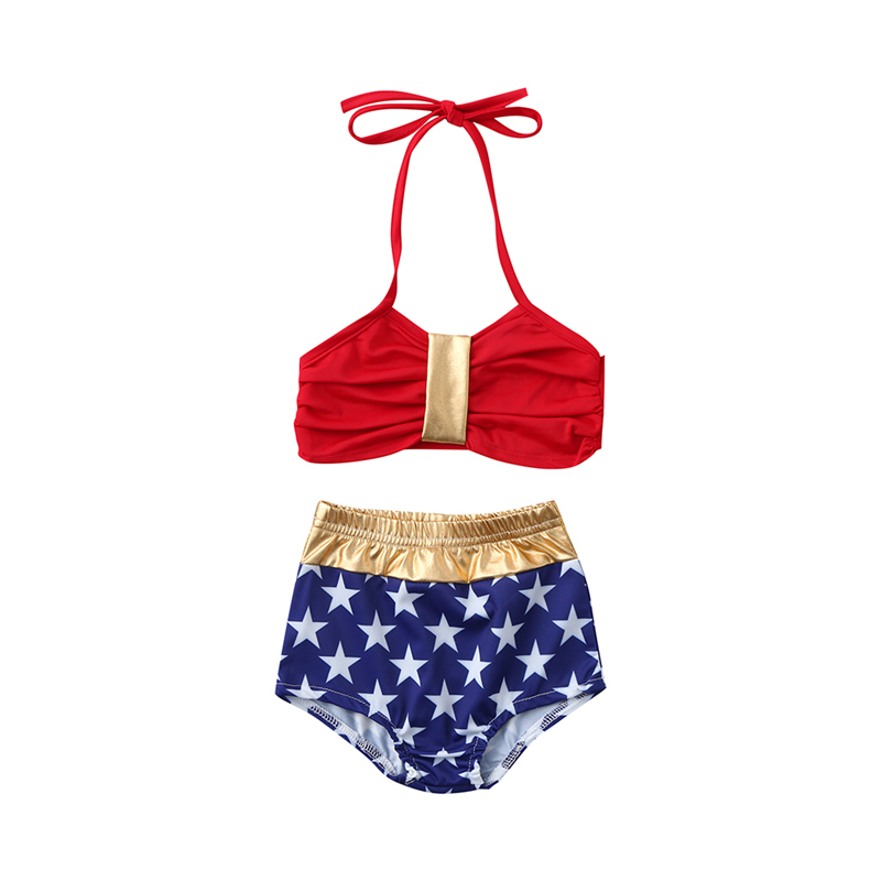 2019 Brand New Toddler Kids Baby Girls Stars Print Bikini Set Cute Swimwear Swimsuit Bathing Suit Beachwear