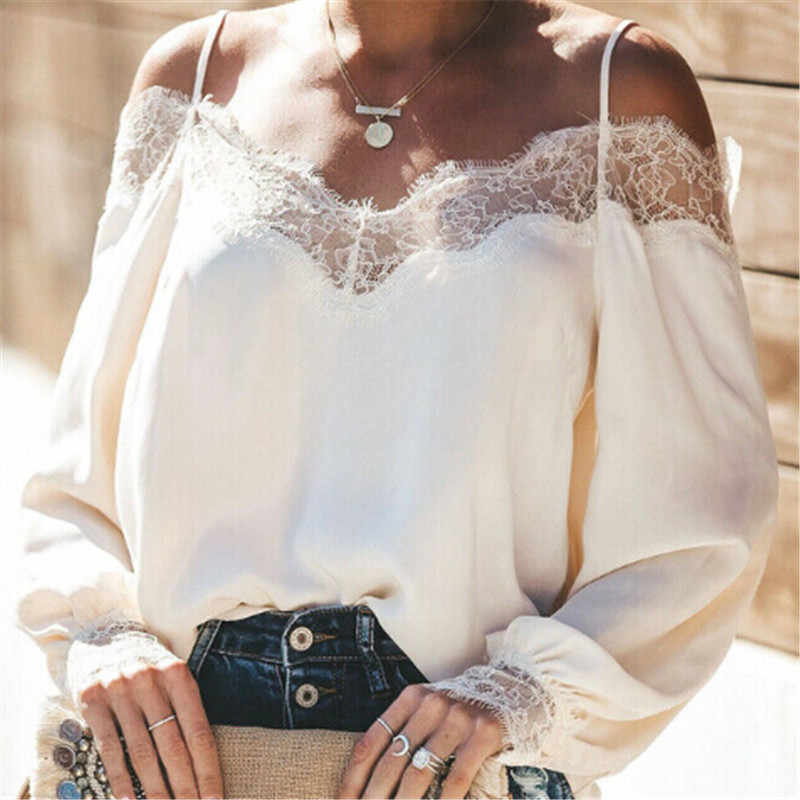 Trendy Women clothes Long Sleeve Casual Loose Ladies Lace T-Shirts Polyester strap off shoulder Tops one pieces