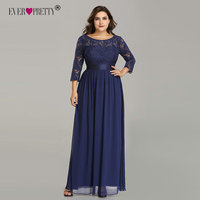 Plus Size Ever Pretty Evening Dresses Long EP07412 Elegant Long Sleeve A line Lace Chiffon Navy Blue Winter Wedding Guest Dresse