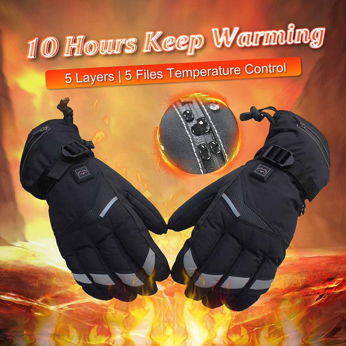 Rechargeable Battery Electric Heated Hands Motorcycle Gloves Winter Warmer With 2 Batteries Cycling Ski Gloves