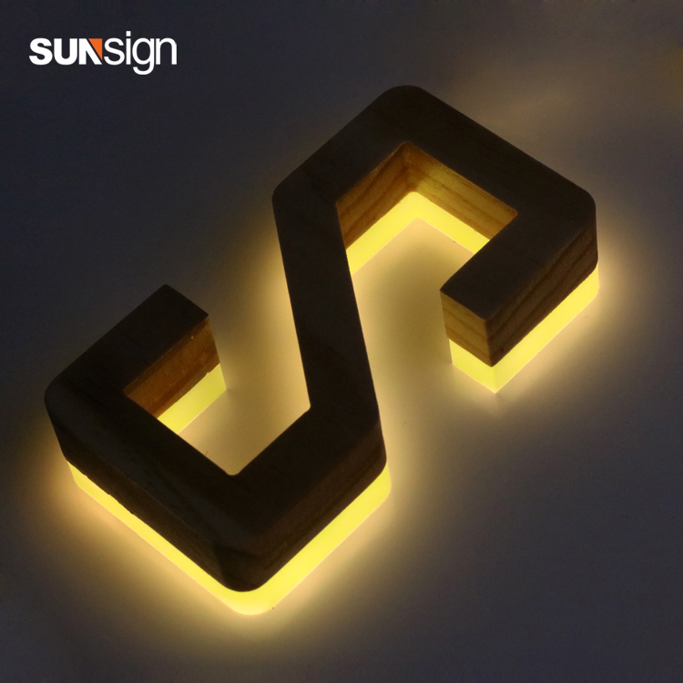 3d Wooden Aluminum Channel Letter RGB Led Strong Light Back Lit Letter