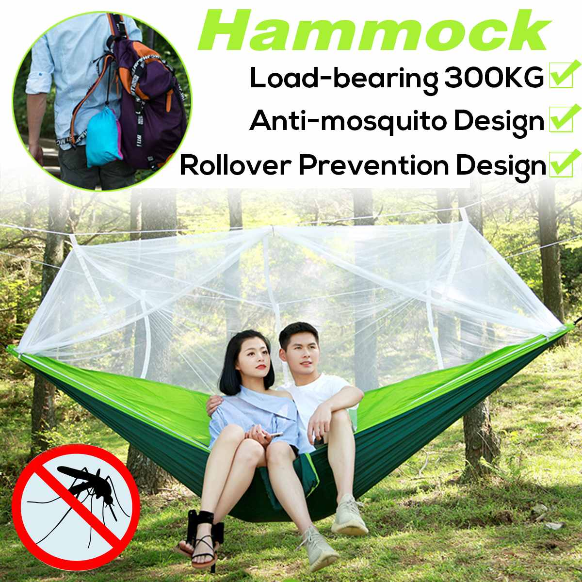 Portable Parachute Mosquito Net Hammock Tent Swing Outdoor Travel Camping Double Person Hanging Hammock Bed Capacity 300KG