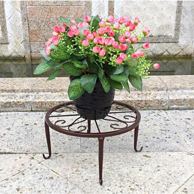 225 & Indoor Outdoor iron Flower Pot Stands Round Plant Display Pot Rack Shelf 24x24x12cm
