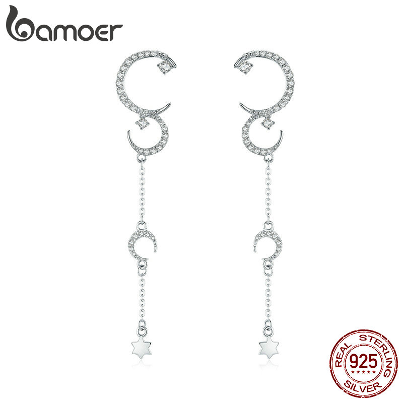 BAMOER Authentic 925 Sterling Silver Moonlight Story Luminous Cubic Zircon Drop Earrings for Women Wedding Jewelry Gift BSE061BAMOER Authentic 925 Sterling Silver Moonlight Story Luminous Cubic Zircon Drop Earrings for Women Wedding Jewelry Gift BSE061