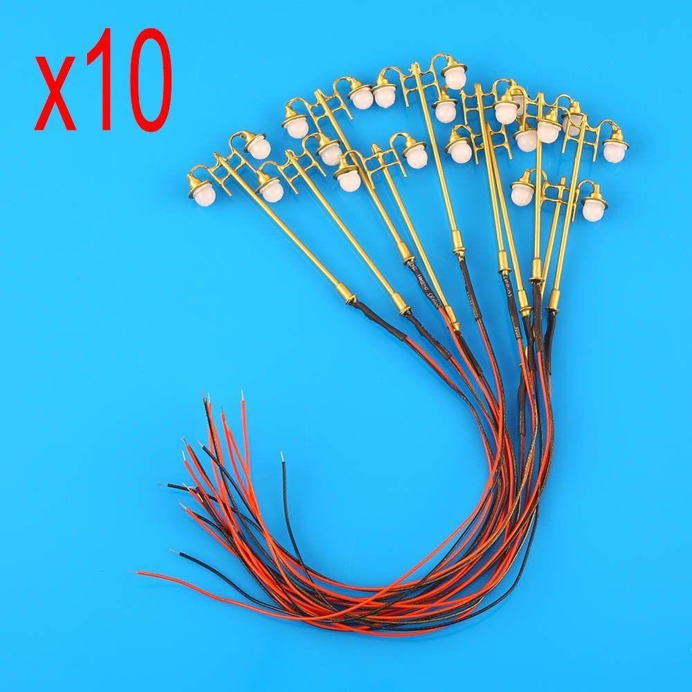 10pcs 3V/12V 1:76~1:120 Copper Model Railway Train Lamp Post Street Lights HO Scale Lighting