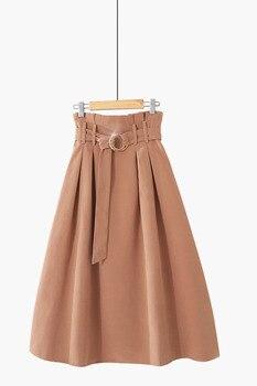PEONFLY  Elegant Midi Long Skirts Women 2019 Autumn Winter Korean Suede Velvet Skirt Female A-line High Waist Pleated Blue Skirt 6