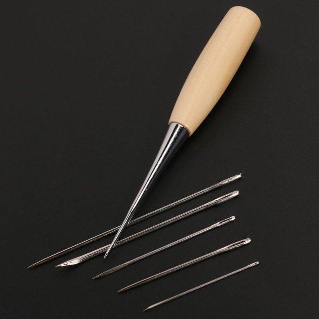 1 Set Sewing Needle Awl Leather Craft Sewing Accessories Stitching Awl Sewing Leathercraft Shoe Repair Tools Supplies 4