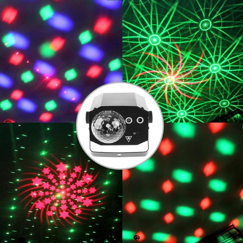 16 Patterns Projector LED Magic Effect Light DJ Disco Ball Voice Control Stage Laser Lamp with Remote Control KTV Bar Party Lamp