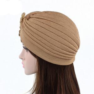 Image 5 - Kobiety indiański kapelusz muzułmański rozciągliwy czepek dla osób po chemioterapii moda chusta na głowę czapka Turban damski kapelusz Islam plisowany Rhinestone Bonnet utrata włosów