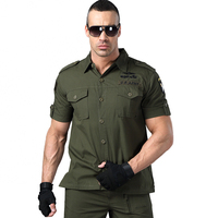 Men Khaki Shirt Short Sleeve Military Shirt Men Blouse Pilot Camouflage Double Pocket Loose Army Green 2019 New Model Male Shirt