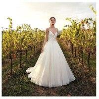 Eightale Boho Wedding Dress 2019 Appliqued Sexy Spaghetti Straps Princess A Line Backless Beach Bride Dress Sexy Wedding Gown