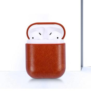 New Small Hook Leather Headphone Case For Airpods Case Wireless Bluetooth Headset Charge Box Leather Portable Drop Shipping