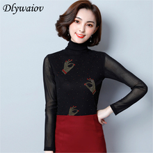 Turtleneck blouse fashion plus size women tops 2018 autumn new long sleeve slim diamonds shirt casual blouses camisa