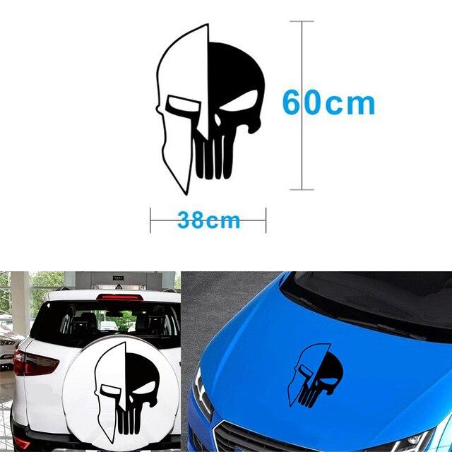 1 Piece Black 60 x 38CM Punisher Skull Vinyl  Decals Car Auto Door Hood Car Sticker