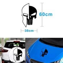 1 adet siyah 60x38CM Punisher kafatası vinil çıkartmaları araba oto kapı Hood araba Sticker