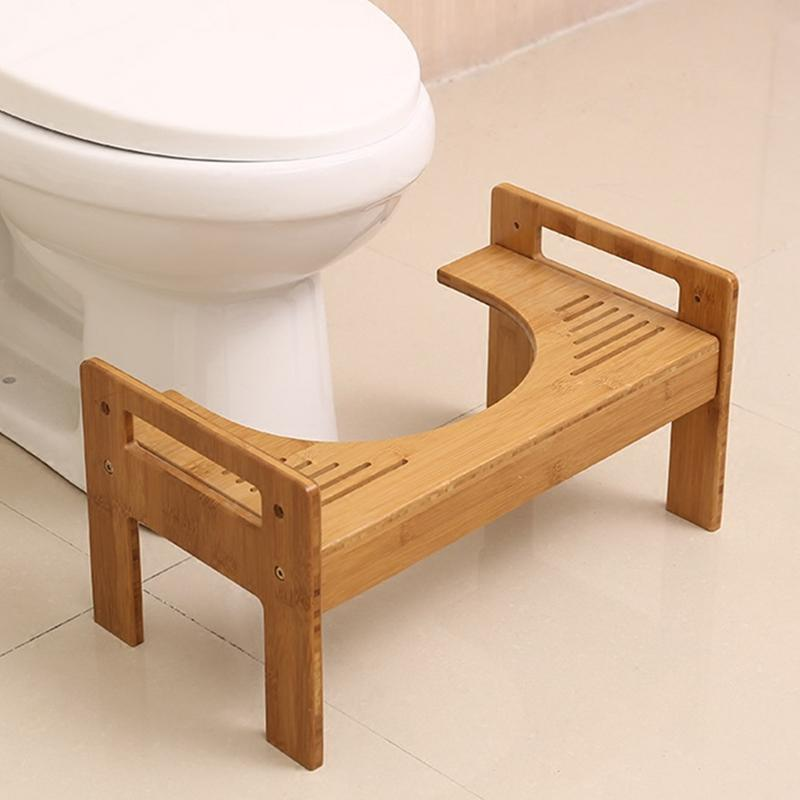 Adjustable Height Footrest Bathroom Toilet Stool Thick Bamboo Toilet Footstool Tabouret For Child And Pregnant