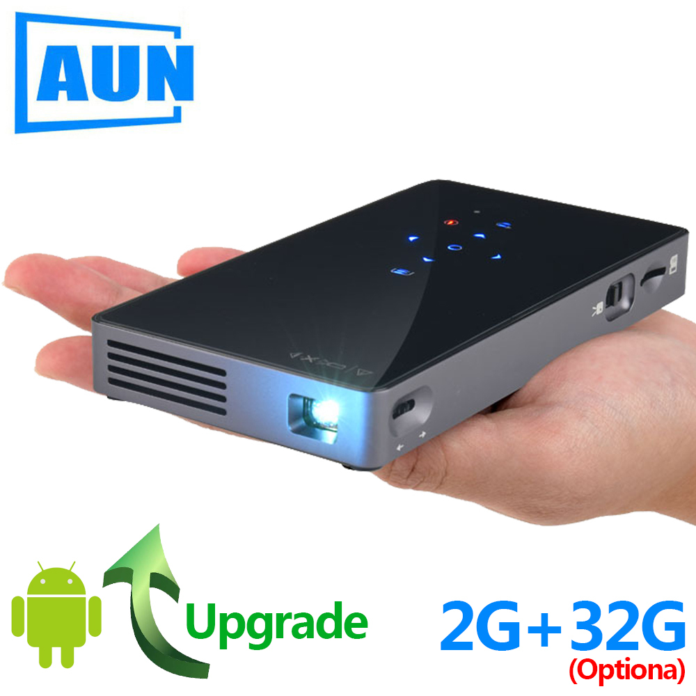 AUN Smart Projector D5S, Android 7 1 (Optional 2G+32G) WIFI, Bluetooth,  Battery, HDMI, Portable Mini