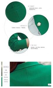 Image 5 - Fashion Women Blazers Green Yellow Long Sleeve Jackets Solid Single Button Coat Slim Office Lady Jacket Tops Blazer Feminino