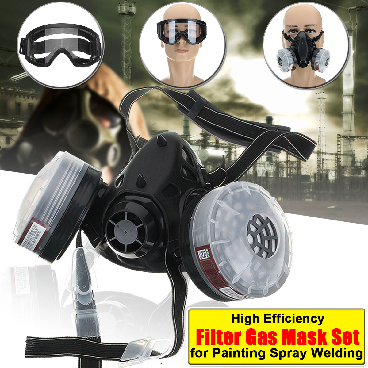4 in 1 Half Face Gas Mask Spray Painting Dust N95 Mist Fume Chemical Respirator for Painting Spray Welding