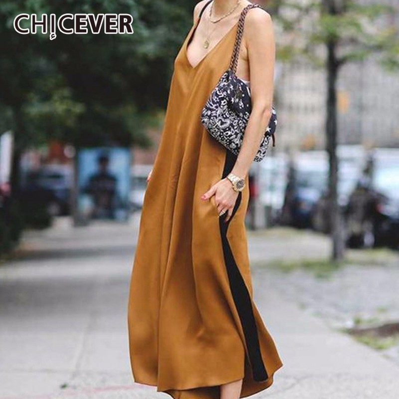 CHICEVER Sexy Off Shoulder Trousers For Women Jumpsuits Pant Loose Spaghetti Strap Long Wide Leg Pants Fashion Casual