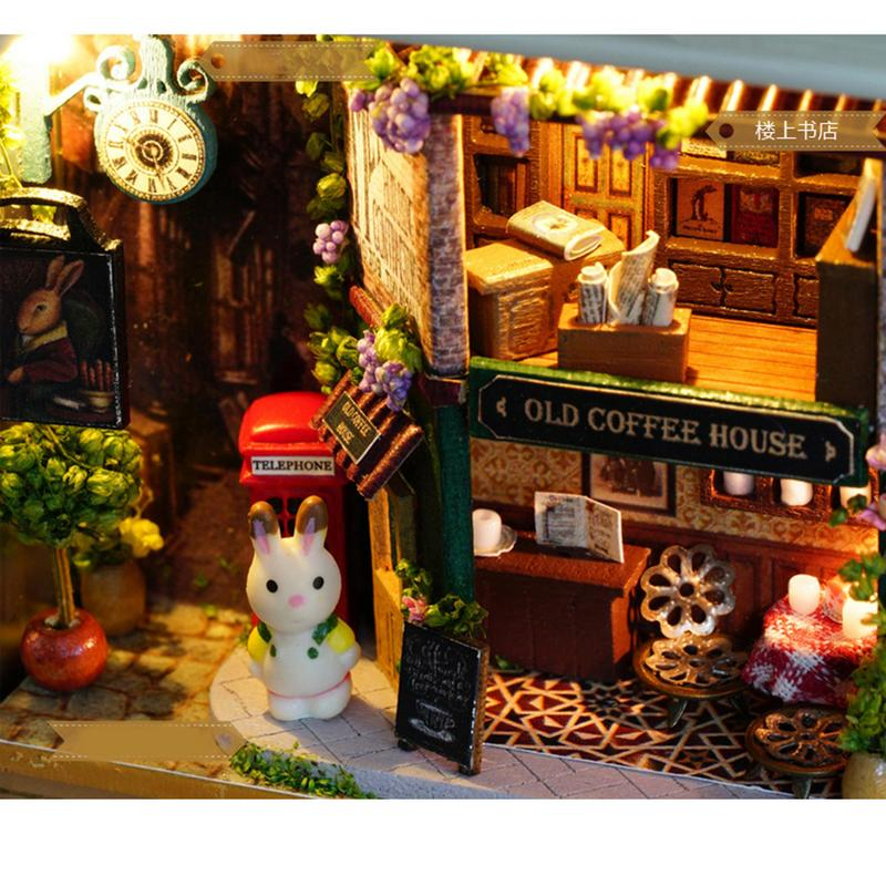 Mini Wooden DIY Cabin Toy Handmade Smart House Box Theater Assembly Villa Model With LED Lamp String Decoration Gift Collection