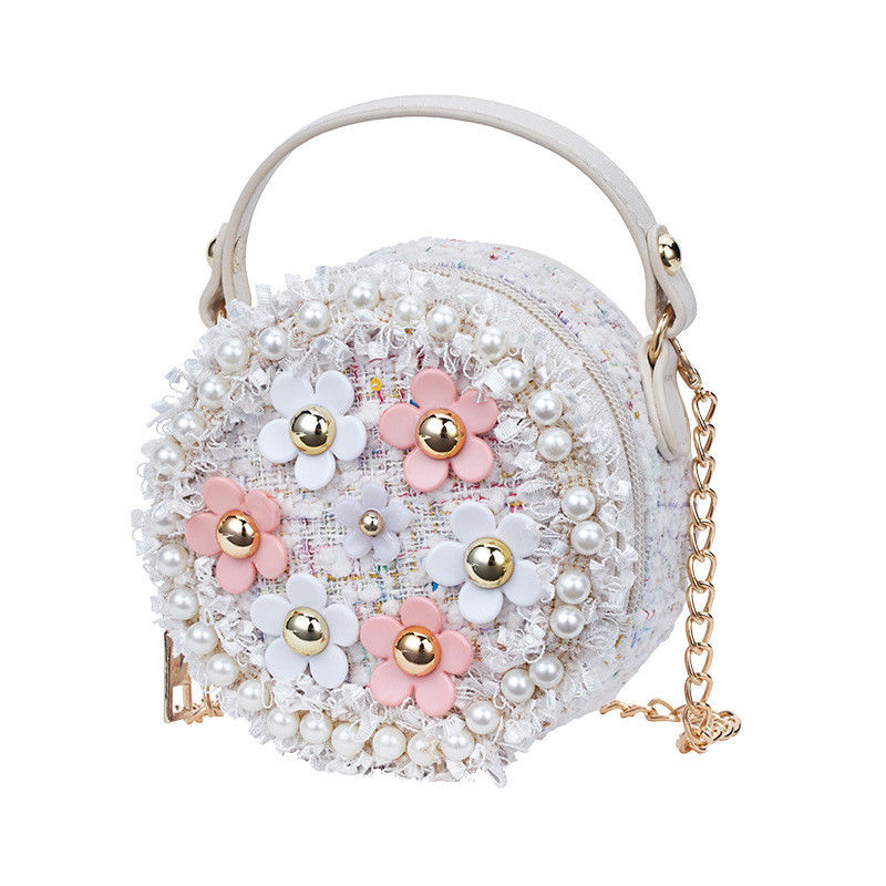 Fashion Flower Pearl Kids Baby Messenger Bags Clutch Women Crossbody Bag Female Shoulder Bags For Girls Party Handbags