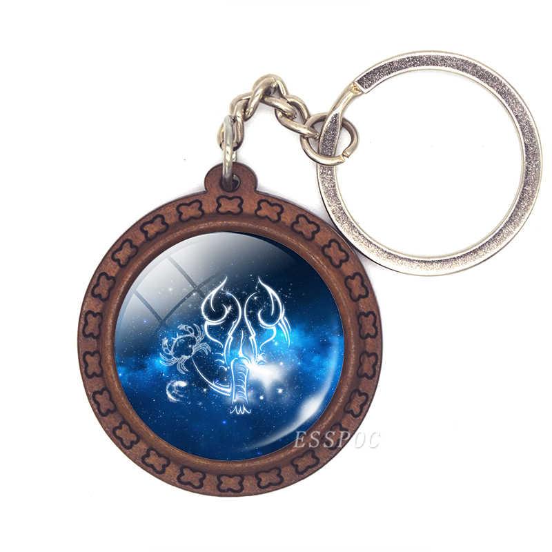 Dấu Hiệu hoàng đạo Keychain 12 Chòm Sao Leo Xử Nữ Libra Scorpio Sagittarius Mặt Dây Chuyền Bằng Gỗ Keyring Móc Chìa Khóa món quà Sinh Nhật Chủ
