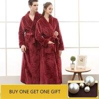 QWEEK Female Robe Flannel Women Sleepwear Long Bathrobe Women Robe Lovers Bath Robe Thick Autumn Winter Plus Size Home Wear