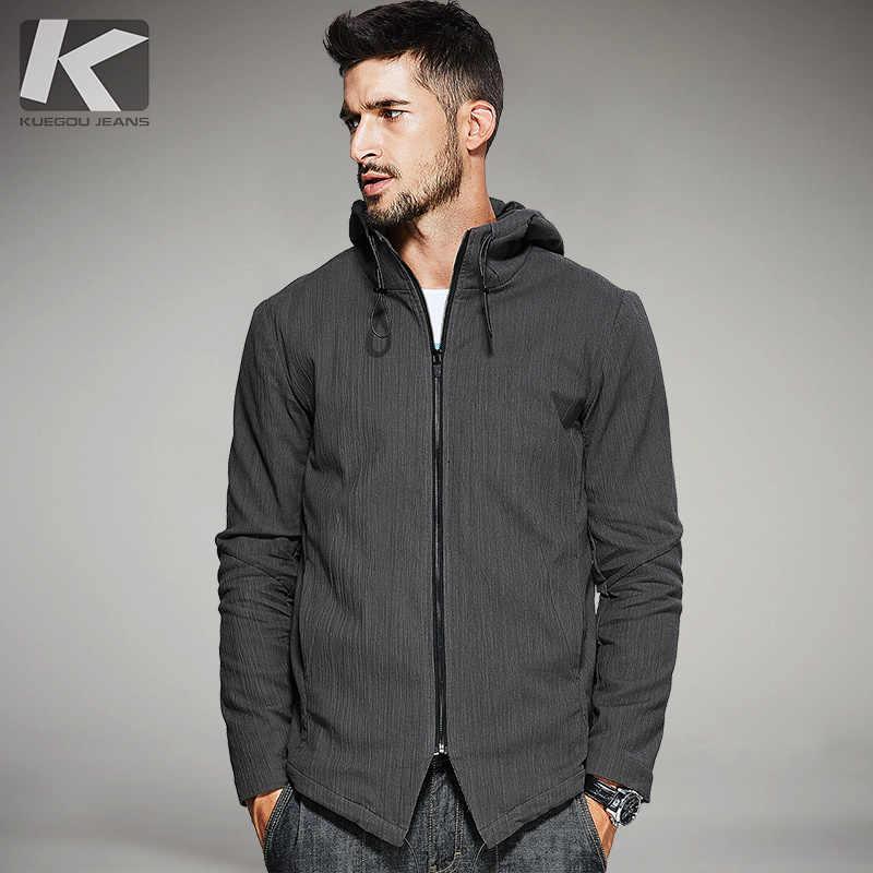 4c4d49109e9 KUEGOU Новая Осенняя мужская куртка с капюшоном и пальто карманы на молнии  Кофе Цвет брендовая одежда