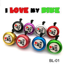 New Safety Bicycle Bell I Love My Bike Printed Clear Sound Cute Bike Horn Alarm Warning Bell Ring Bicycle Accessory(China)