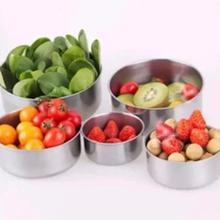 5pcs/set Sealed Crisper Stainless Steel Bowls Sealing Food Storage Box with Cover