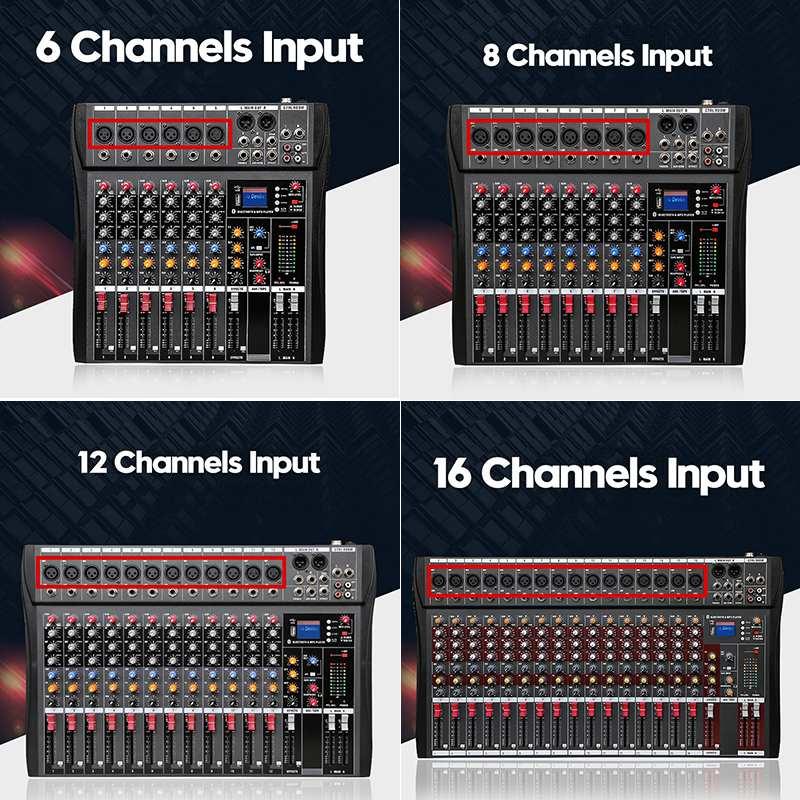 LEORY Professionale 4/6/8/12/16 Canali Studio Mixer Audio Audio Mixing Console bluetooth USB di ricarica per DJ Audio Mixer per KTVLEORY Professionale 4/6/8/12/16 Canali Studio Mixer Audio Audio Mixing Console bluetooth USB di ricarica per DJ Audio Mixer per KTV