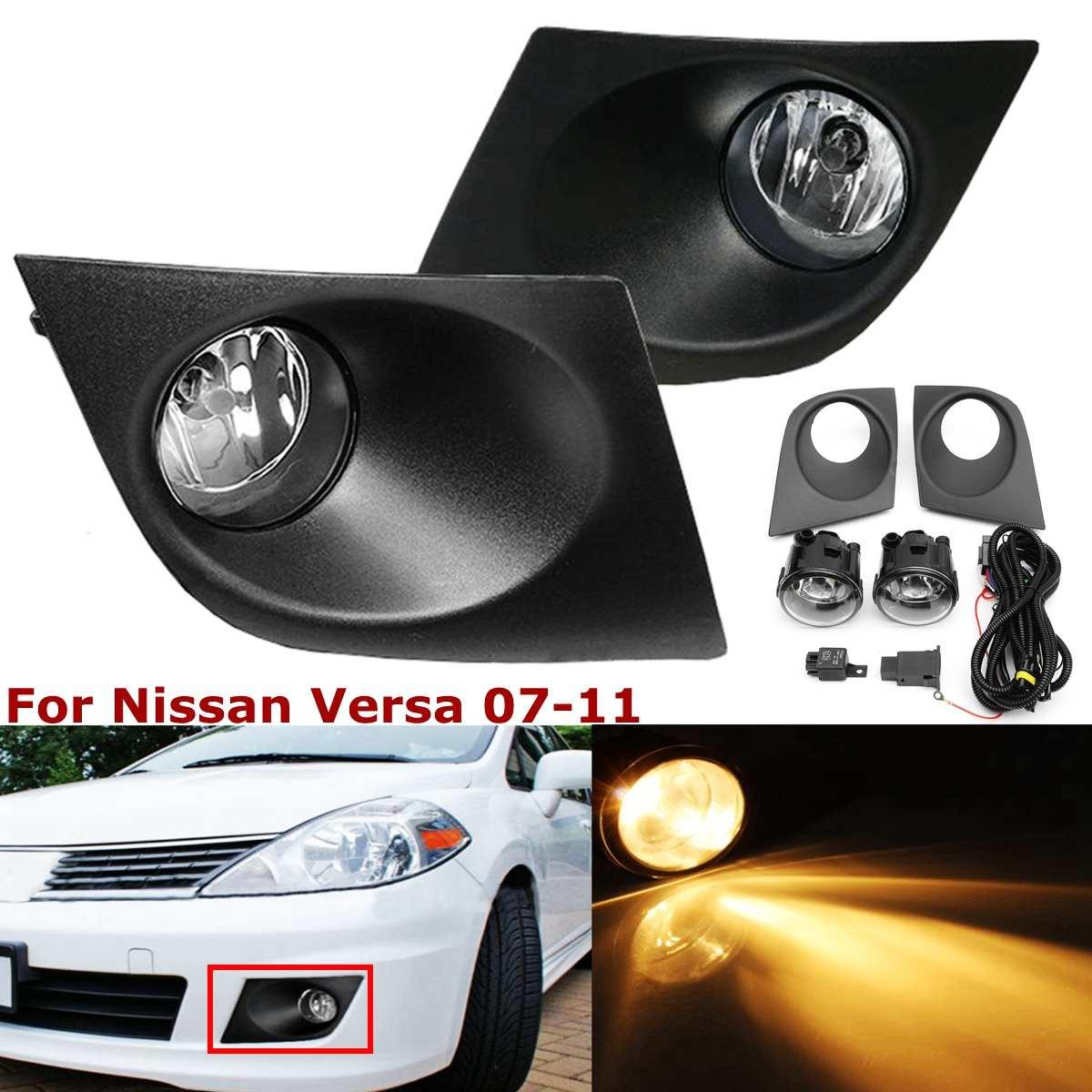 Pair For Nissan Versa 4 door Sedan models 2007 2008 2009 2010 2011 Pair Clear Front Bumper Grille Fog Light H11Bulb Switch