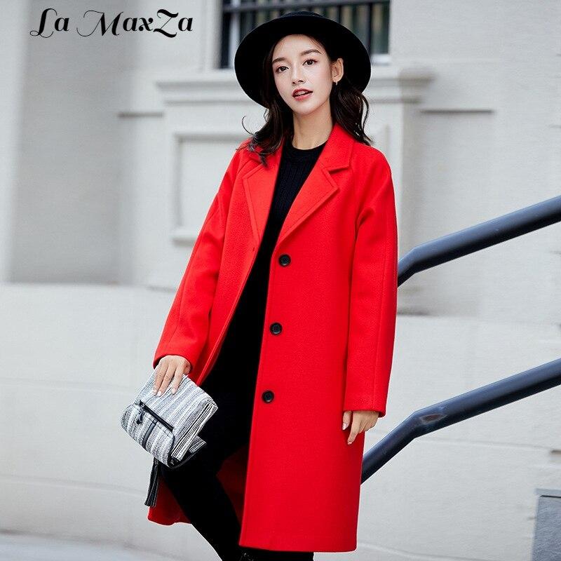 Manteau Unique Poitrine pourpre Manteaux Mélange rose Laine Et Hiver Féminin À Lady Veste Office Large Noir rouge Taille Mode Long qgwqvUO