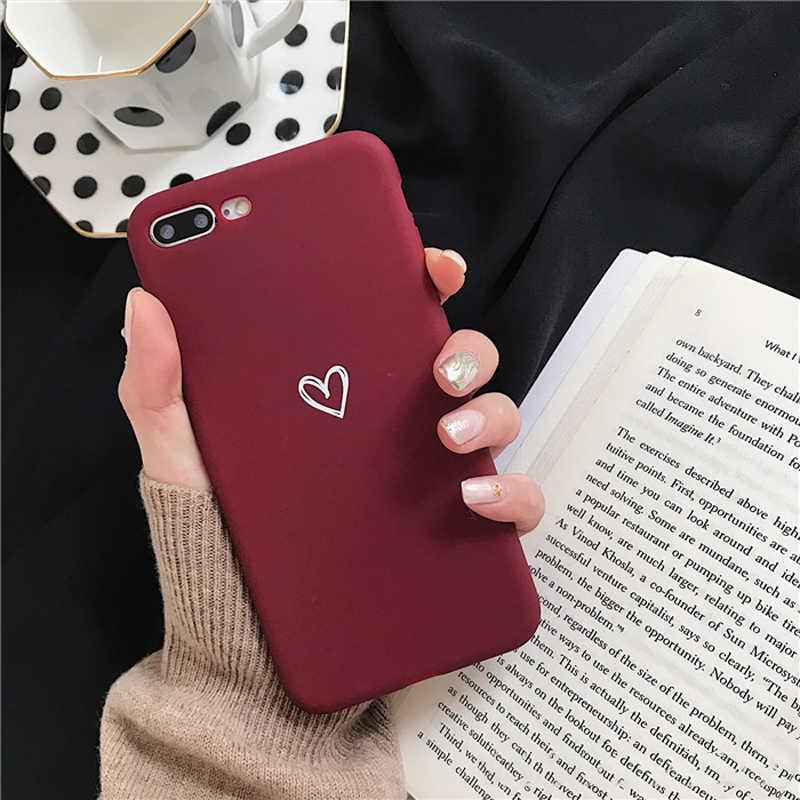 Lovebay Lembut Silicone Ponsel Case Penutup untuk Apple Iphone 8 8 PLUS 7 6 6S 5 5S PLUS se X Max XR X Cinta Jantung Ultra-Tipis Back Cover