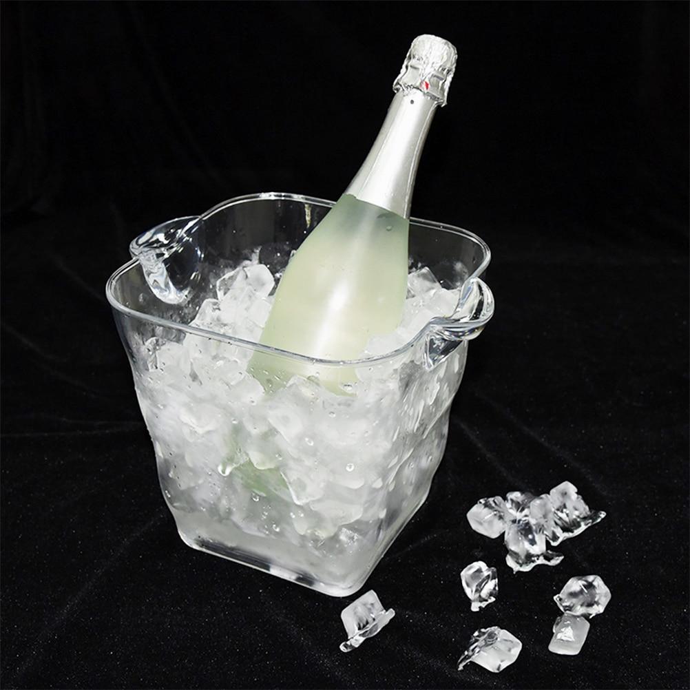 1 St Vierkante Doorzichtige Plastic Ijsemmer Stijlvolle Draagbare Rode Wijn Ijsemmer Voor Rode Wijn Champagne Bar