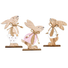 Easter Decorations Wooden Rabbit Shapes Ornaments Craft Gifts Home Event & Party Supplies 3Pcs