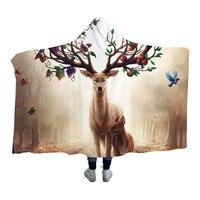 Seasons Change by Hooded Blanket for Adults Sherpa Fleece Floral Deer Elk Microfiber Wearable Blanket on the Bed Sofa