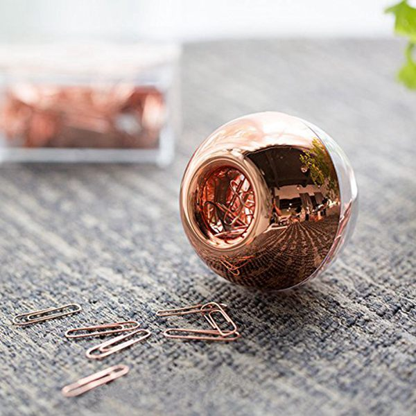 100 Paper Clips In Rose Gold Magnetic Clip Dispenser, Rose Gold Paper Clips Holder, 28mm, Rose Gold, 100 Clips Per Box