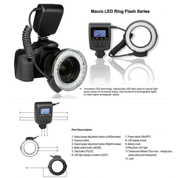 Andoer RF-550D Macro 48 LED Ring Flash Light LCD Display Power Control for Canon/Nikon/Pentax/Olympus DSLR
