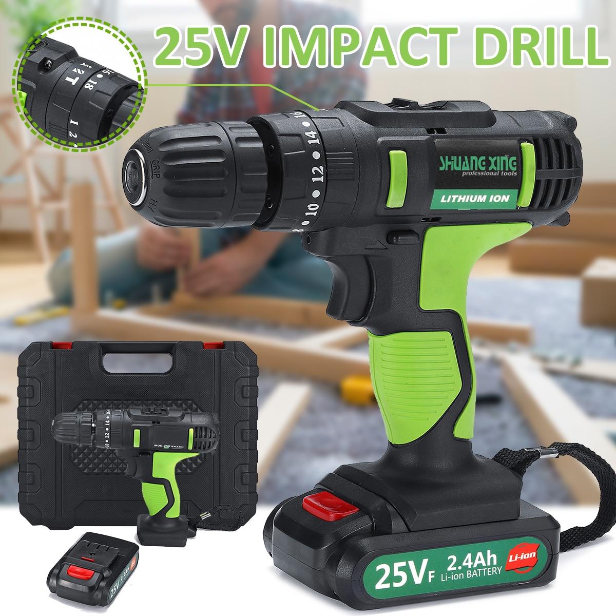 Perceuse électrique sans fil 25 V 2 vitesses perceuses à percussion 220 v perceuse-visseuse rechargeable 3/8